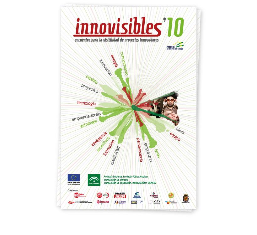 Diseño de cartel y frontis para el Encuentro de Proyectos Innovadores que cada año se celebra en la provincia de Jaén, Innovisibles 2010 y organizado por el Centro de Apoyo al Desarrollo Empresarial (CADE)