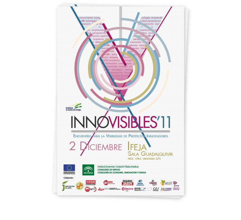Diseño de cartel y frontis para el Encuentro de Proyectos Innovadores que cada año se celebra en la provincia de Jaén, Innovisibles 2011 y organizado por el Centro de Apoyo al Desarrollo Empresarial (CADE)