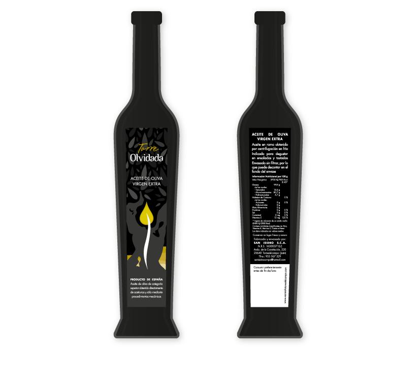 Diseño de etiqueta y contraetiqueta troncocónica para botella de AOVE (Aceite de Oliva Virgen Extra) de calidad premium de la marca Torre Olvidada de la S.C.A. San Isidro