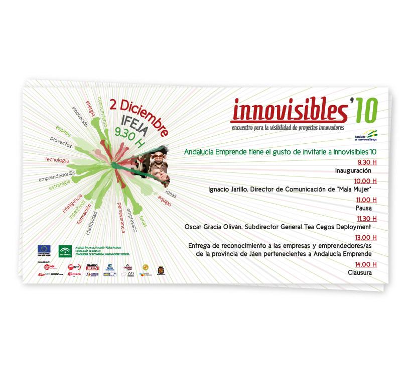 Diseño de invitación para el Encuentro de Proyectos Innovadores que cada año se celebra en la provincia de Jaén, Innovisibles 2010 y organizado por el Centro de Apoyo al Desarrollo Empresarial (CADE)