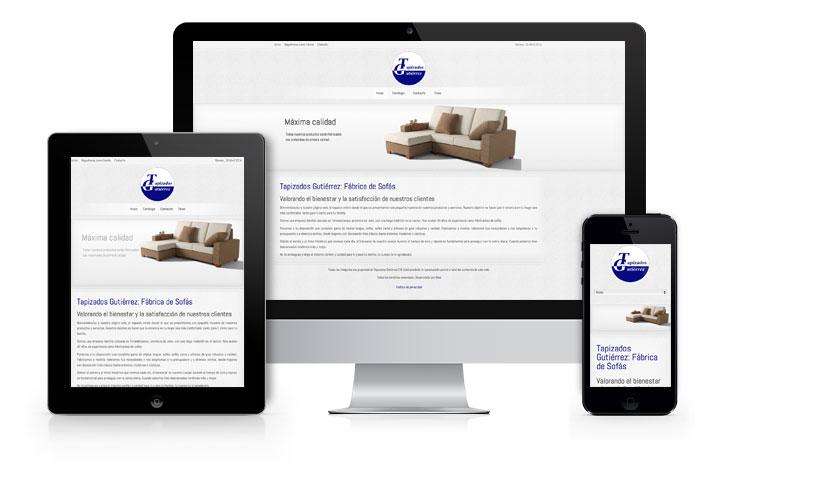 Diseño y desarrollo de página web corporativa y autogestionable con diseño responsivo para Tapizados Gutiérrez: Fábrica de Sofás.