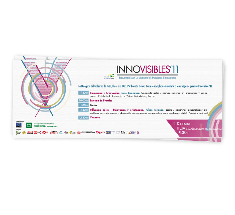 Diseño de invitación para el Encuentro de Proyectos Innovadores que cada año se celebra en la provincia de Jaén, Innovisibles 2011 y organizado por el Centro de Apoyo al Desarrollo Empresarial (CADE)
