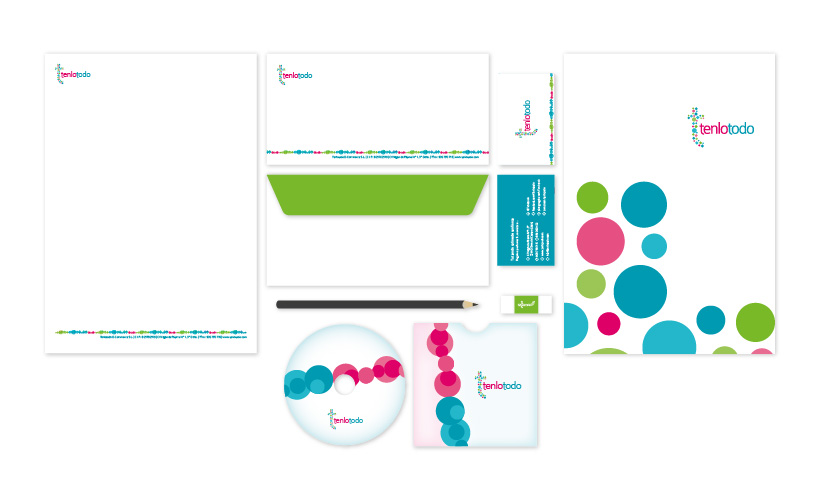 Diseño de papelería corporativa de Tenlotodo: tienda online de regalos, perfumes y cosméticos originales